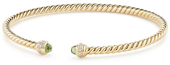 David Yurman Cable Spira Bracelet in 18K Gold with Peridot & Diamonds