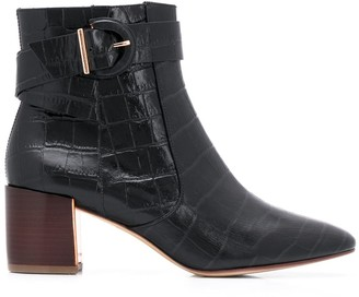Sophia Webster Croc Embossed Ankle Boots
