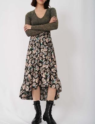 Maje Long printed skirt with ruffles