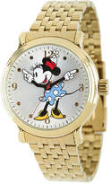 Disney Princess Disney Minnie Mouse Womens Gold-Tone Stainless Steel Watch