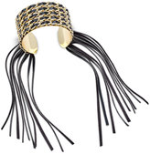 Thalia Sodi Gold-Tone Faux-Leather Fringed Cuff Bracelet, Only at Macy's
