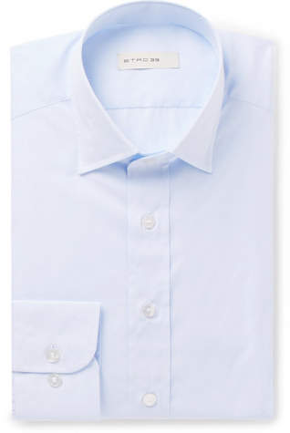 Etro Light-Blue Slim-Fit Striped Cotton-Jacquard Shirt