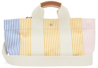 Rue De Verneuil - Lady Parcours Striped Leather-trim Canvas Bag - Womens - Yellow Multi