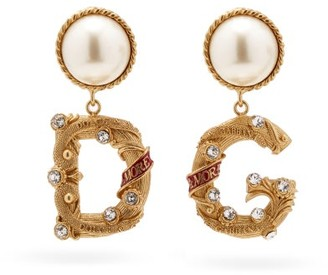 Dolce & Gabbana Crystal-embellished Clip Earrings - Gold