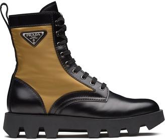 Prada Panelled Combat Boots