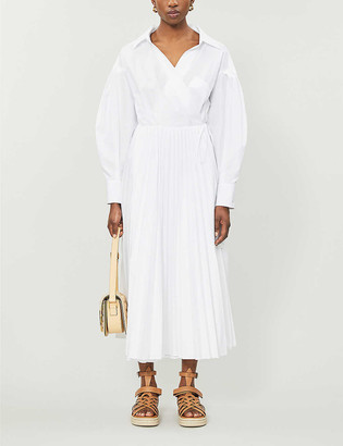 Valentino Pleated cotton-poplin wrap midi dress