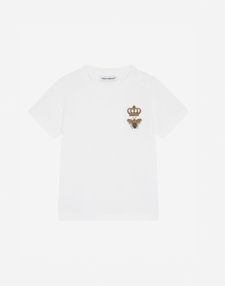 Dolce & Gabbana Jersey T-Shirt With Bee And Crown Embellishment
