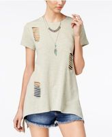 Say What Juniors' Cutout Handkerchief-Hem Tunic T-Shirt