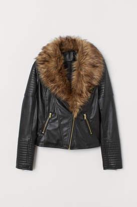 H&M Biker Jacket with Faux Fur - Black