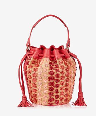 GiGi New York Genevieve Bucket Bag, Red Pom Pom Raffia with Pebble Grain