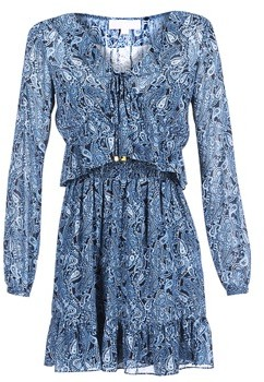MICHAEL Michael Kors RFL SMOCKED MINI DRS women's Dress in Blue