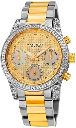 Akribos XXIV Ladies Calendar Date Diamond Crystal Two-tone Bracelet Watch