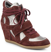Ash Bowie Suede & Metallic Leather Wedge Sneakers