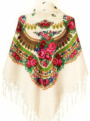 M&K Apparel Scarf Wrap Traditional Ukrainian Polish Russian Fringed Floral Neck Head Shawl