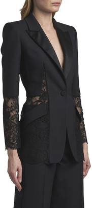 Alexander McQueen One-Button Wool Blazer with Lace