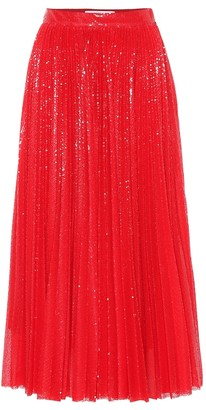 MSGM Sequined pleated midi skirt