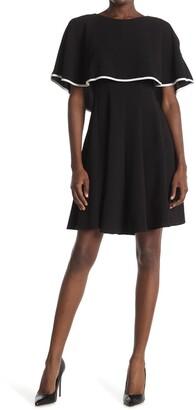 Gabby Skye Crepe Capelet A-Line Dress