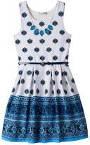 Knitworks Girls 7-16 Patterned Border Textured Skater Dress with Necklace