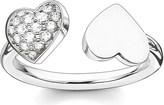 Thomas Sabo Classic sterling silver and pavé zirconia double heart open ring