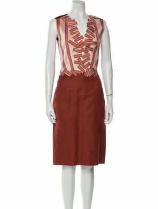 Bottega Veneta Striped Midi Length Dress Orange