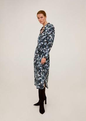 MANGO Abstract-print shirt dress blue - 2 - Women