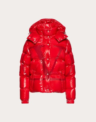 Valentino Moncler Vlogo Lacquered Nylon Padded Jacket Women Red 100% Poliammide 40