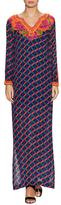 Trina Turk Tylar Print Embellished Trim Maxi Dress