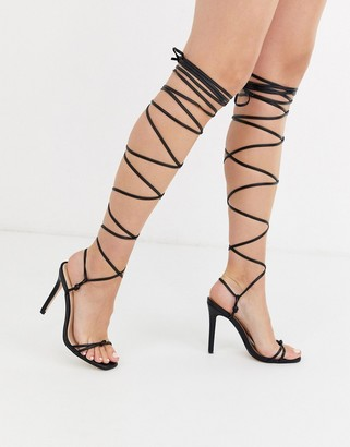 Public Desire Sincere tie up heeled sandals in black