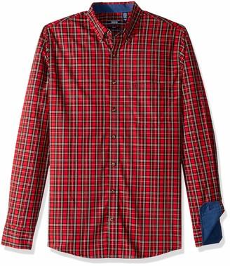 Izod Men's Big and Tall Long Sleeve Tartan Non Iron Plaid Shirt