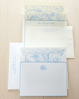 Horchow 25 French-Blue-Bordered Notes with Plain Envelopes