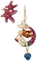 Betsey Johnson Gold-Tone Multi-Stone Mystical Sea Motif Mismatch Earrings