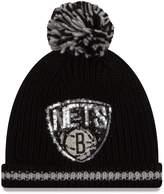 New Era Women's Black Brooklyn Nets Sequin Frost Cuffed Pom Hat