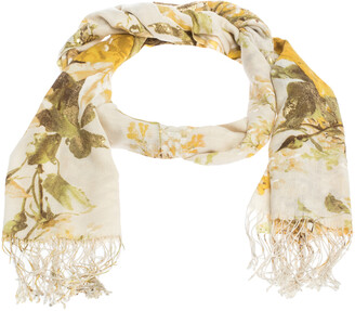 Roberto Cavalli Yellow Floral Foil Print Fringed Cashmere & Silk Scarf