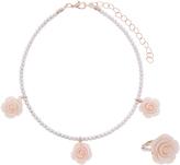 Monsoon Rose Pearl Choker Necklace Set