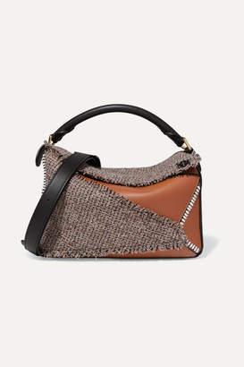 Loewe Puzzle Medium Leather And Tweed Shoulder Bag - Brown