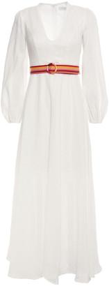 Zimmermann Goldie Belted Linen Midi Dress