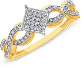 Paradise Jewelers Women's 0.32CTW Diamond Pave Accent Square 14K Yellow -Plated Sterling Silver Ring, Size 8.5