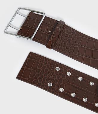 AllSaints Aline Crocodile Leather Belt