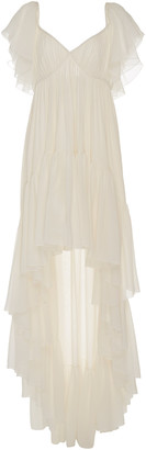 Giambattista Valli Asymmetric Tiered Silk-Georgette Maxi Dress