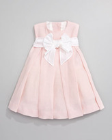 Helena Linen Pleated Dress, Light Pink