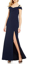 Aidan Mattox Off-The-Shoulder Front Slit Gown