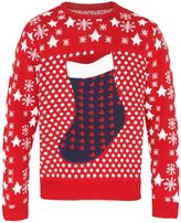 ChristmasShop Christmas Shop Adults Unisex 3D Stocking Pocket Christmas Jumper/Sweatshirt (2XL)
