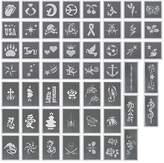 BMC 50pc Body Art Multiple Design Stencils Kit for Party Fun Temporary Fashionable Multi-Color Glitter Shimmer Tattoo Kit