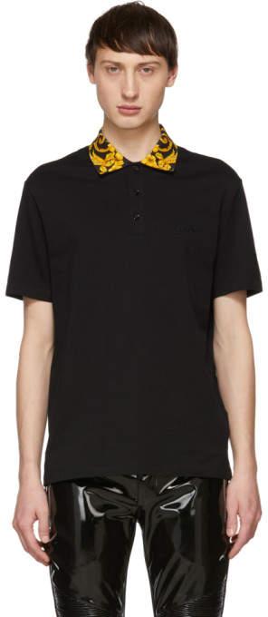 Versace Black Baroque Collar Polo