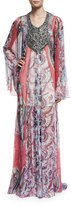 Haute Hippie Marisa Sheer Silk Multipattern Gown, Multicolor