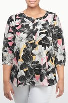 NYDJ Floral Mirage Print 3/4 Sleeve Blouse In Plus