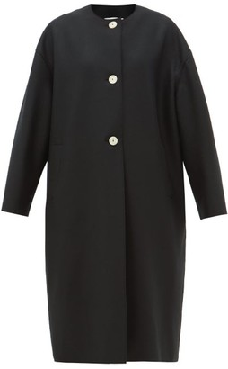 Harris Wharf London Round-neck Felted Wool Coat - Black