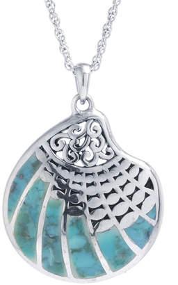FINE JEWELRY Shell Womens Enhanced Blue Turquoise Sterling Silver Pendant Necklace