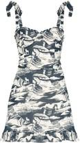 Reformation Christine printed ruffled dress