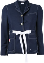 Thom Browne lace up blazer - women - Cotton/Mohair/Wool - 40